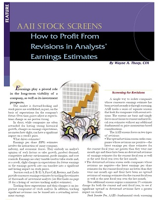 How to Profit From Revisions in Analysts' Earnings Estimates by Wayne Thorp