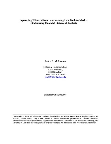 Separating Winners from Losers among Low Book-to-Market Stocks using Financial Statement Analysis by Partha Mohanram